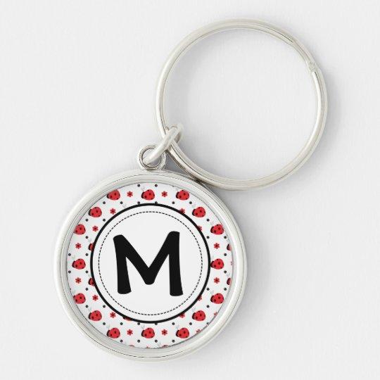 Cute ladybugs monogram key ring