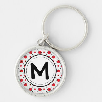 Cute ladybugs monogram key ring Silver-Colored round key ring