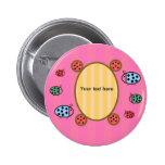 Cute ladybugs on pink badge