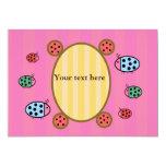Cute ladybugs on pink 13 cm x 18 cm invitation card