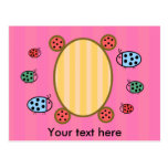Cute ladybugs on pink post cards