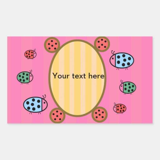 Cute ladybugs on pink rectangular sticker