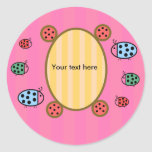 Cute ladybugs on pink round stickers