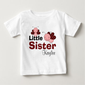 Cute Ladybugs Personalized Little Sister Baby T-Shirt