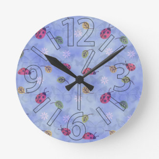 Cute Ladybugs Round Clock
