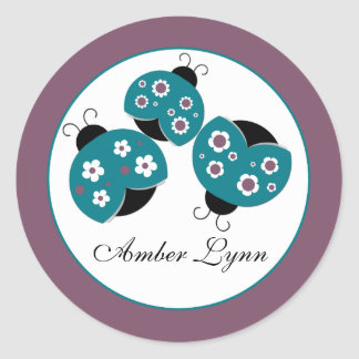 Cute Ladybugs Teal & Purple Round Sticker