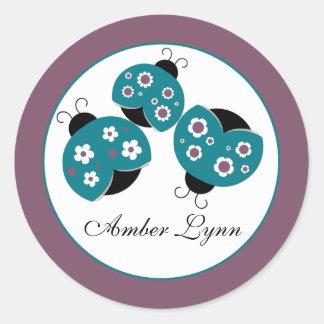 Cute Ladybugs Teal & Purple Stickers