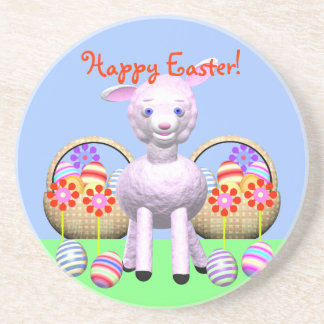 Cute Lamb Character and Easter Baskets Drink Coaster