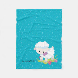 Cute lamb * choose background color fleece blanket
