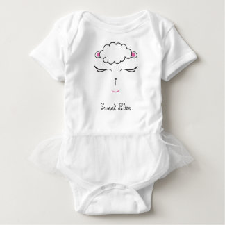 Cute Lamb face, pink and white Baby Bodysuit