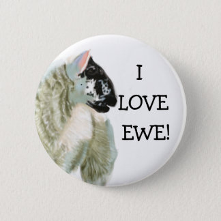 Cute Lamb Loves Ewe 6 Cm Round Badge