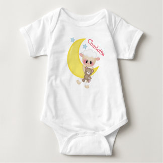 Cute Lamb on Crescent Moon with Monogram T Shirt