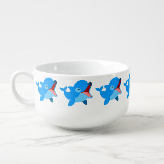 Cute Laughing Cartoon Dolphin Soup Bowl With Handle