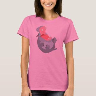 Cute Laughing Cartoon Hippo Women T-Shirt