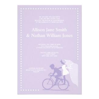 CUTE Lavender Bicycle Couple Wedding Invitation