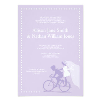 CUTE Lavender Bicycle Couple Wedding Invitation