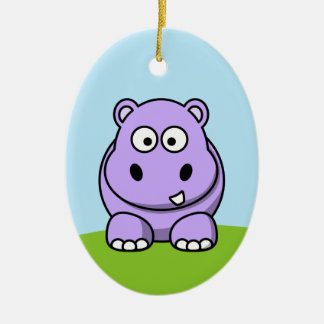 Cute Lavender Hippo Christmas Ornament