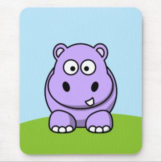 Cute Lavender Hippo Mouse Mat