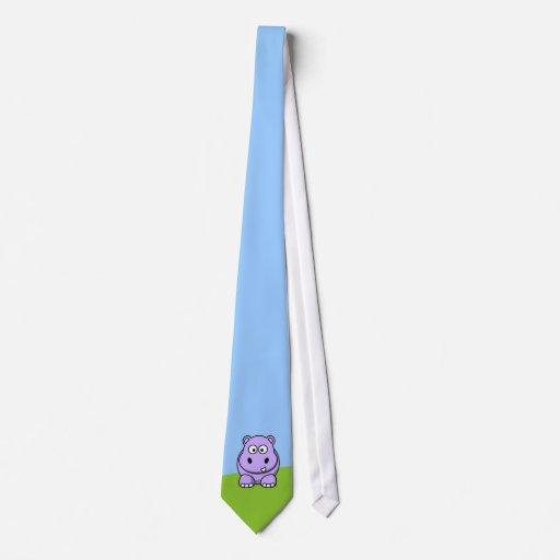 Cute Lavender Hippo Neck Tie