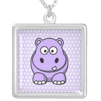 Cute Lavender Hippo Silver Plated Necklace