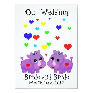 Cute Lavender Rhino Heart Two Brides Gay Wedding Card