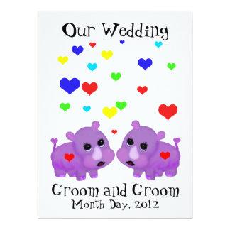 Cute Lavender Rhino Heart Two Grooms Gay Wedding 17 Cm X 22 Cm Invitation Card