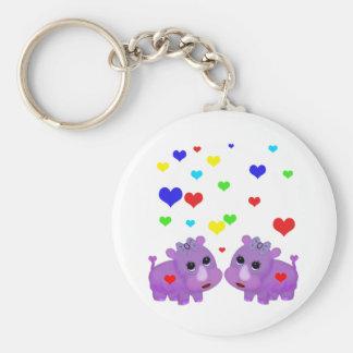 Cute Lavender Rhino Rainbow Heart Rhinoceros GLBT Basic Round Button Key Ring