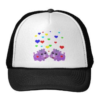 Cute Lavender Rhino Rainbow Heart Rhinoceros GLBT Cap