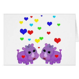 Cute Lavender Rhino Rainbow Heart Rhinoceros GLBT Card
