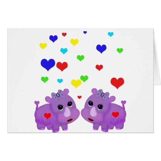 Cute Lavender Rhino Rainbow Heart Rhinoceros GLBT Card