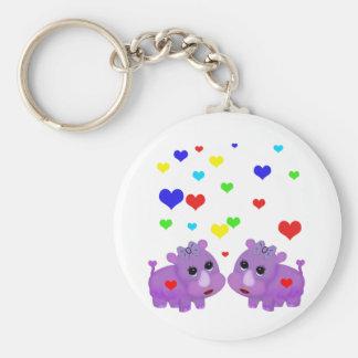 Cute Lavender Rhino Rainbow Heart Rhinoceros GLBT Key Ring
