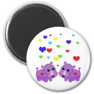 Cute Lavender Rhino Rainbow Heart Rhinoceros GLBT Magnet