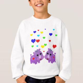 Cute Lavender Rhino Rainbow Heart Rhinoceros GLBT Sweatshirt