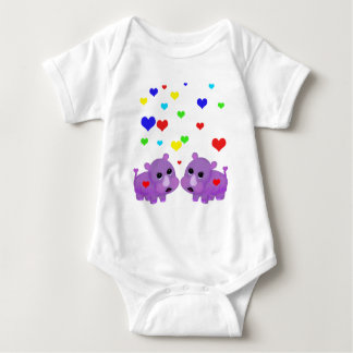 Cute Lavender Rhino Rainbow Heart Rhinoceros GLBT Tshirt