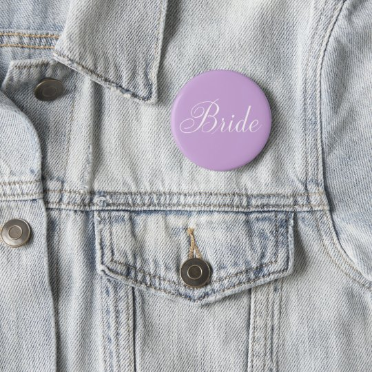 "Cute Lavender Script Typography ""Bride"" 6 Cm Round Badge"