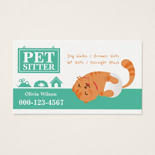 Cute Lazy Baby Cat Pet Sitting Service Business
