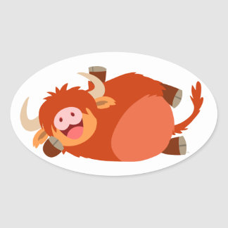 Cute  Lazy Cartoon Highland Cow Sticker
