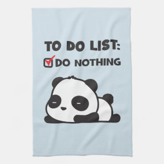 Cute Lazy Panda - To Do List - NOTHING - Funny Tea Towel