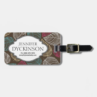 Cute Leaf Pattern Pink Brown Blue Personalized Luggage Tag