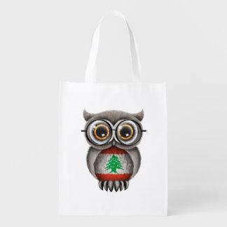 Cute Lebanese Flag Owl Wearing Glasses