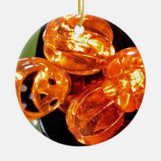 Cute LED Pumpkin lights Round Ceramic Decoration