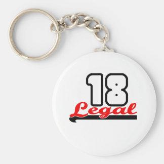 "Cute, ""Legal 18"" design Basic Round Button Key Ring"