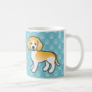 Cute Lemon Coat Beagle Breed Cartoon Dogs On Blue Coffee Mug