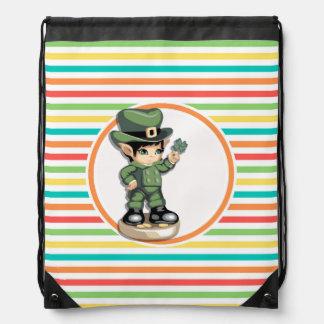 Cute Leprechaun on Bright Rainbow Stripes Cinch Bags
