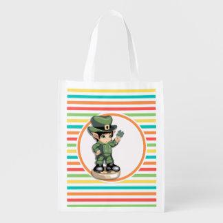Cute Leprechaun on Bright Rainbow Stripes Reusable Grocery Bags