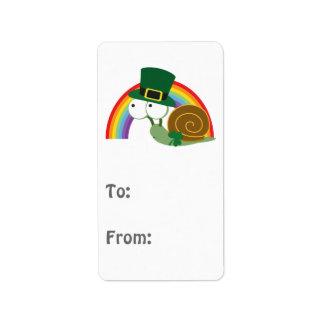 Cute Leprechaun Snail Address Label
