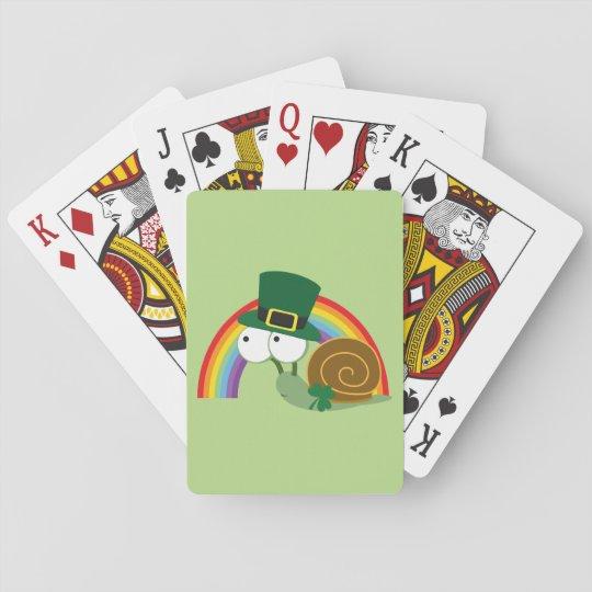 Cute Leprechaun Snail Poker Deck