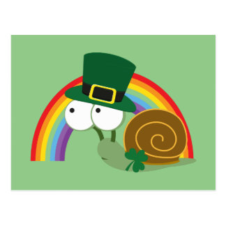 Cute Leprechaun Snail Postcard