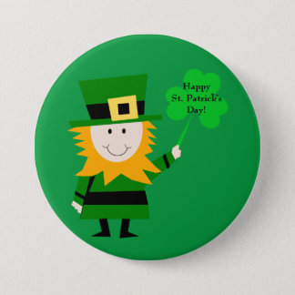 Cute Leprechaun with Clover St. Patrick's Day Pin