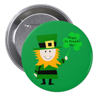 Cute Leprechaun with Clover St. Patrick's Day Pin 3 Inch Round Button